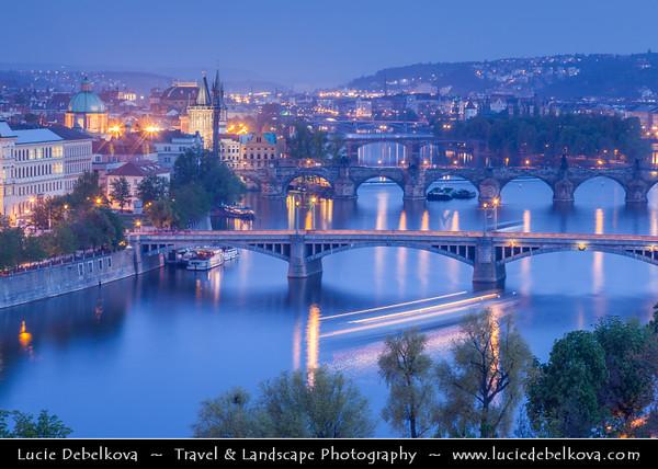 Europe - Czech Republic - Bohemia - Prague - Praha - Historical Centre - Prague Old Town - Staré Město Pražské - UNESCO World Heritage Site - Cityscape along river Vltava - Moldau
