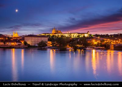 Europe - Czech Republic - Bohemia - Prague - Praha - Historical Centre - Prague Old Town - Staré Město Pražské - UNESCO World Heritage Site - Prague Castle - Pražský hrad above river Vltava - Moldau