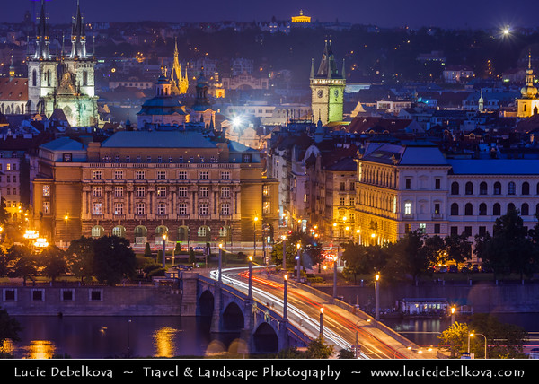 Czech Republic - Prague - Praha - Capital City - Hlavni Mesto - View of Old Town from Prague Castle (Pražský hrad) at Dusk