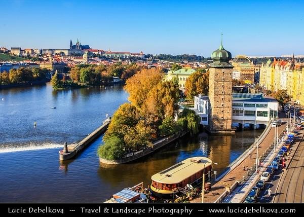 Europe - Czech Republic - Cechy - Prague - Praha - Capital City - Hlavni Mesto - UNESCO - Historical Center - Area around Manes Tower - Mánesova věž on banks of Vltava River