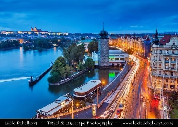 Europe - Czech Republic - Cechy - Prague - Praha - Capital City - Hlavni Mesto - UNESCO - Historical Center - Area around Manes Tower - Mánesova věž on banks of Vltava River at Dusk - Blue Hour - Twilight - Night