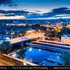Europe - Czech Republic - Czechia - Bohemia - Čechy - Prague - Praha - Historical Centre - City Skyline along Vltava River with Church of St. Anthony of Paduan - Kostel svatého Antonína Paduánského - Kostel svatého Antonína z Padovy - Dusk - Twilight - Blue Hour - Night