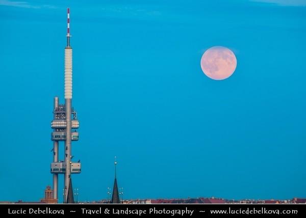 Europe - Czech Republic - Bohemia - Prague - Praha - Capital City - Žižkov Television Tower - Žižkovský Televizni Vysílač - Uniquely-designed Tower & Rising Super Moon