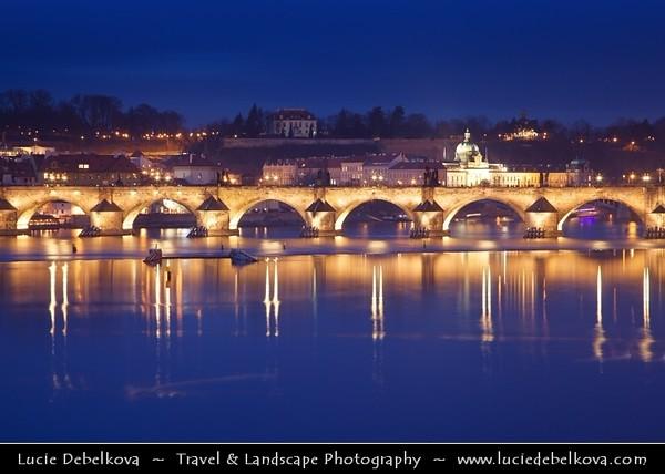 Europe - Czech Republic - Bohemia - Prague - Praha - Historical Centre - Prague Old Town - Staré Město Pražské - UNESCO World Heritage Site - Charles bridges - Karlův Most - One of the most iconic Prague locations over Vltava River