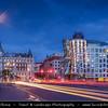 Europe - Czech Republic - Bohemia - Prague - Praha - Historical Centre - Prague Old Town - Staré Město Pražské - UNESCO World Heritage Site - Dancing House - Tančící dům at Dusk - Twilight - Blue Hour - Night
