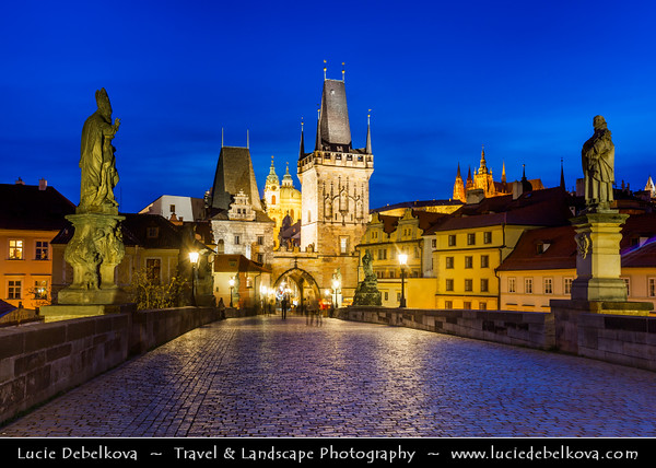 Europe - Czech Republic - Bohemia - Prague - Praha - Historical Centre - Prague Old Town - Staré Město Pražské - UNESCO World Heritage Site - Charles bridges - Karlův Most - One of the most iconic Prague locations over Vltava River at Dusk - Blue Hour - Twilight - Night