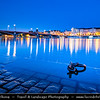 Europe - Czech Republic - Czechia - Bohemia - Čechy - Prague - Praha - Historical Centre - Prague Old Town - Staré Město Pražské - UNESCO World Heritage Site - Cityscape along river Vltava - Moldau - Dusk - Twilight - Blue Hour - Night