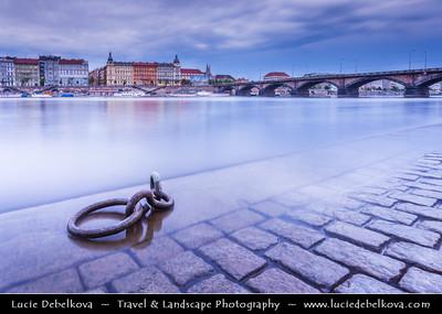 Europe - Czech Republic - Bohemia - Prague - Praha - Historical Centre - Prague Old Town - Staré Město Pražské - UNESCO World Heritage Site - Cityscape from shore of Vltava river