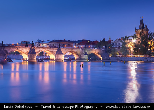 Czech Republic - Prague - Praha - Capital City - Hlavni Mesto - Lavka & Charles Bridge from shore of Vltava River