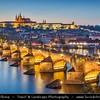 Europe - Czech Republic - Bohemia - Prague - Praha - Capital City - Historical Centre - Prague Old Town - Staré Město Pražské - UNESCO World Heritage Site - Prague Castle - Pražský hrad  & Charles Bridge - Karlův most over river Vltava - Moldau