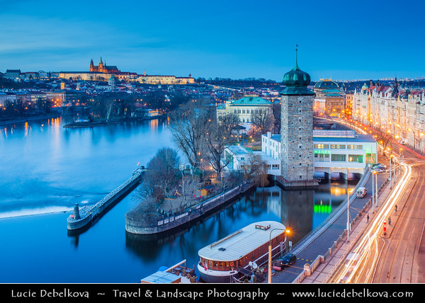 Europe - Czech Republic - Cechy - Prague - Praha - Capital City - Hlavni Mesto - UNESCO - Historical Center - Area around Manes Tower - Mánesova věž on banks of Vltava River at Dusk - Blue Hour - Twilight - Night