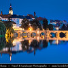 Europe - Czech Republic - Czechia - Bohemia - Čechy - South Bohemian Region - Písek - Historical town with Pisek castle & Stone Bridge - Kamenný most - Old Bridge - Starý most spaning over Otava River - One of oldest bridges in Central Europe