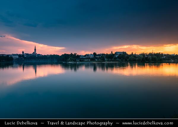 Europe - Czech Republic - Czechia - South Bohemian Region - Jižní Čechy - Tábor - Cityscape from Jordán Lake - Oldest dam lake in Central Europe from 1492