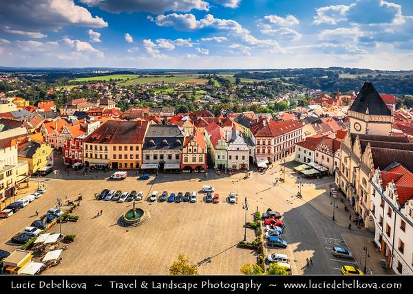 Europe - Czech Republic - Czechia - South Bohemian Region - Jižní Čechy - Tábor - Tabor - Historical town with royal status from 1436 AD - Old Town - Žižkovo Náměstí - Žižka's square with Renaissance Fountain