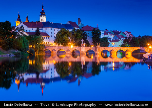 Europe - Czech Republic - South Bohemian Region - Písek - Stone Bridge - Kamenný most - Old Bridge - Starý most spaning over Otava River - One of oldest bridges in Central Europe at Dusk - Twilight - Blue Hour - Night