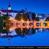 Europe - Czech Republic - South Bohemian Region - Písek - Stone Bridge - Kamenný most - Old Bridge - Starý most spaning over Otava River - One of oldest bridges in Central Europe at Dusk - Twilight - Blue Hour - Night