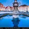 Europe - Czech Republic - Czechia - Česko - South Bohemian Region - Jižní Čechy - Tábor - Historical town centre - Žižkovo Náměstí - Žižka's square with Renaissance Fountain