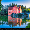 Europe - Czech Republic - Czechia - Bohemia - South Bohemian Region - Červená Lhota Vodní Zámek - Red Lhota Water Château - Iconic Castle standing at the middle of lake on rocky island