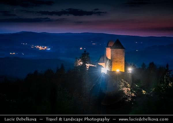 Europe - Czech Republic - Czechia - South Bohemian Region - Jižní Čechy - Hrad Kašperk - Kasperk Castle - Medieval & most highly located royal castle in Bohemia with elevation 886 metres (2,907 ft)
