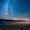 Europe - Czech Republic - Czechia - South Bohemian Region - Jižní Čechy - Lipno Reservoir - Water Dam built on Vltava River - Largest lake in Czech Republic, 48 km long & up to 5 km wide with total shoreline length of 150 km, located at altitude of 725 m above sea level - Night sky with Milky way