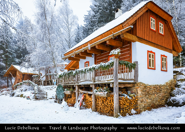 Europe - Czech Republic - Czechia - Vysočina - Podlesí - Pohádková vesnička Podlesíčko - Fairytale village with houses inspired by different fairytales during snowy white winter