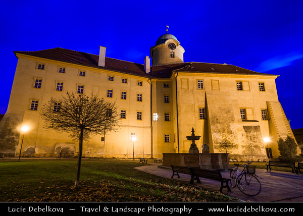 Europe - Czech Republic - Central Bohemian Region - Poděbrady - Picturesque historical spa town - Zámek Poděbrady - Poděbrady Castle at Dusk - Twilight - Blue Hour - Night