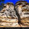 Europe - Czech Republic - Central Bohemian Region - Střední Čechy - Středočeský kraj - Kokořínsko - Chráněná krajinná oblast - Kokořín Valley Nature Reserve - North Bohemian sandstone region - Čertovy hlavy - Devil's Heads - Impressive sculpture by Václav Levý - Almost 10 meters high heads carved into sand stone rock