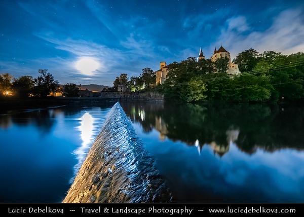 Europe - Czech Republic - Czechia - Bohemia - Čechy - Klášter Sázava - Sázavský klášter - Sázava Monastery - Benedictine abbey & monastery along Sázava River with weir - Night sky with stars & setting Moon