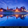 Europe - Czech Republic - Central Bohemian Region - Nymburk - Former Royal City situated on banks of River Labe Elbe founded in 1275 by Přemysl Otakar II. - Medieval walls at Blue Hour - Twilight - Dusk - Night