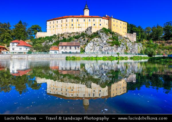 Europe - Czech Republic - Bohemia - Čechy - Vysočina Region - Ledeč nad Sázavou - Historical town with the castle on the cliff above Sázava River which flows through town