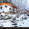 Europe - Czech Republic - Czechia - Vysočina - Podlesí - Pohádková vesnička Podlesíčko - Fairytale village with houses inspired by different fairytales during snowy white winter