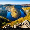 Europe - Czech Republic - Czechia - Česko - Central Bohemian Region - Střední Čechy - Vltavská Vyhlídka Máj - Vltava River Bend - Famous view at meander of Vltava - Moldau - Warm autumn colors during fall season