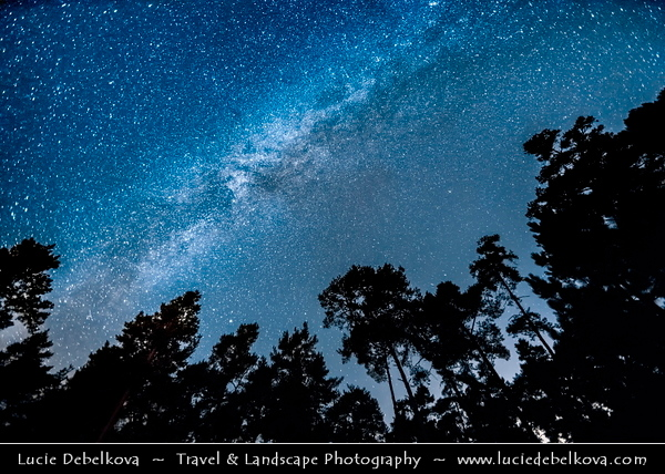 Europe - Czech Republic - Czechia - Česko - Central Bohemian Region - Střední Čechy - Slapy Dam - Vodní nádrž Slapy - Water Reservoir on Vltava/Moldau river - Part of Vltava Cascade water management system & popular leisure resort area - Night sky with Stars & Milky Way