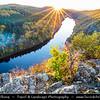 Europe - Czech Republic - Czechia - Česko - Central Bohemian Region - Střední Čechy - Smetanova vyhlídka - Smetana's Viewpoint - Vltava River Bend - Famous view at meander of Vltava - Moldau - Warm autumn colors during fall season