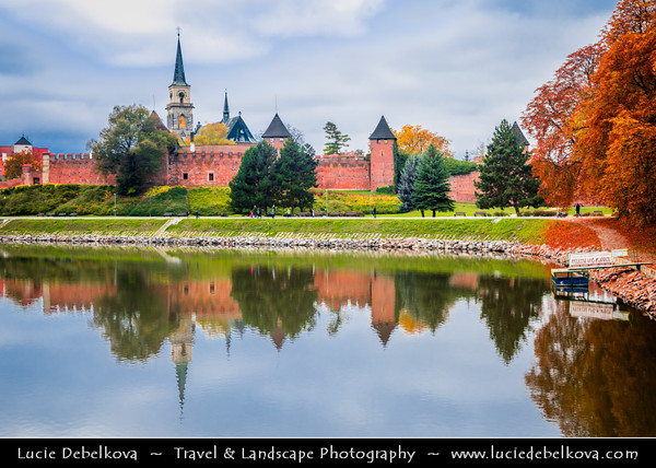 Europe - Czech Republic - Central Bohemian Region - Středočeský kraj - Nymburk - Former Royal City situated on banks of River Labe (Elbe) founded in 1275 by Přemysl Otakar II. with greatly preserved Medieval fortification walls - Warm autumn colors during fall season