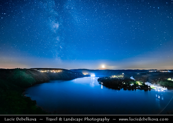 Europe - Czech Republic - Czechia - Bohemia - Čechy - Slapy Water Reservoir - Part of Vltava Cascade water management system - Night sky with stars & Milky Way & Setting Moon on the Horizon