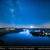 Europe - Czech Republic - Czechia - Bohemia - Čechy - Slapy Water Reservoir - Part of Vltava Cascade water management system - Night sky with stars & Milky Way & Setting Moon on the Horizon
