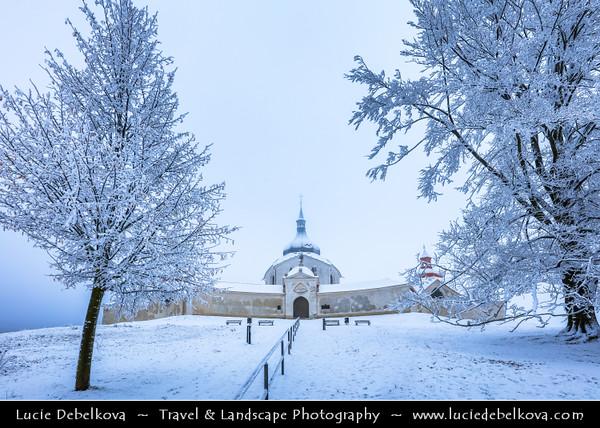 Europe - Czech Republic - Czechia - Žďár nad Sázavou - Zelená hora - Pilgrimage Church of St John of Nepomuk - Poutní kostel svatého Jana Nepomuckého - UNESCO World Heritage Site - One of the most original religious buildings in Europe during snowy white winter