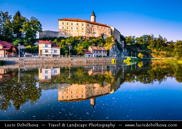 Europe - Czech Republic - Czechia - Česko - Vysočina Region - Ledeč nad Sázavou - Historical town with castle on rocky cliff above Sázava River