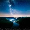 Europe - Czech Republic - Czechia - Česko - Central Bohemian Region - Střední Čechy - Meandr Vltavy u Solenic - Solenická podkova - Solenice Horseshoe - One of most beautiful riverbends/meander of Vltava/Moldau river - River canyon with deep water & green forest - Night sky with Stars & Milky Way