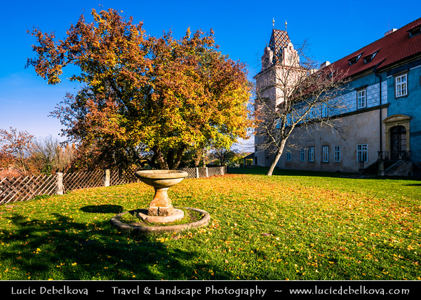 Europe - Czech Republic - Czechia - Bohemia - Brandýs Nad Labem Zámek - Medieval castle/chateau in Renaissance style located on left side of river Elbe - Labe - Warm autumn colors during fall season