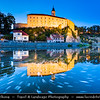 Europe - Czech Republic - Czechia - Česko - Vysočina Region - Ledeč nad Sázavou - Historical town with castle on rocky cliff above Sázava River - Twilight - Blue Hour - Night - Dusk