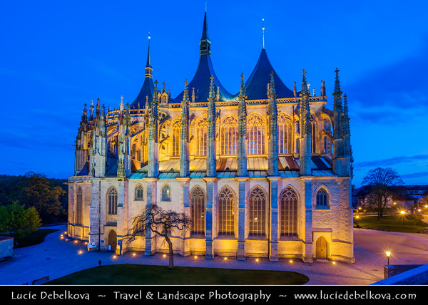 Europe - Czech Republic - Central Bohemia - Kutná Hora - UNESCO World Heritage Site - Historical Town Centre with the Church of St Barbara and the Cathedral of Our Lady at Sedlec at Dusk - Twilight - Blue Hour - Night