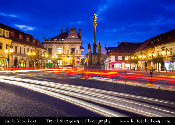 Europe - Czech Republic - Central Bohemian Region - Poděbrady - Picturesque historical spa town at Dusk - Twilight - Blue Hour - Night