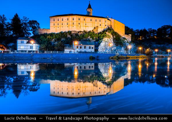 Europe - Czech Republic - Czechia - Česko - Vysočina Region - Ledeč nad Sázavou - Historical town with castle on rocky cliff above Sázava River - Twilight - Blue Hour - Night - Dusk