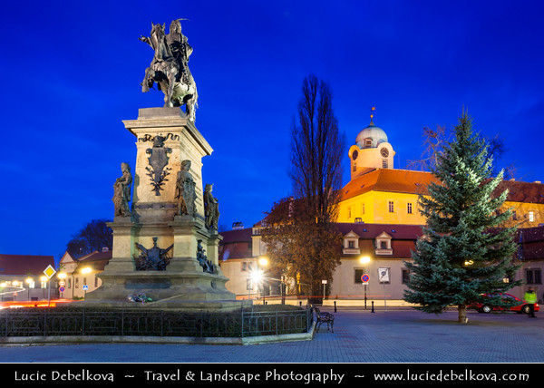 Europe - Czech Republic - Central Bohemian Region - Poděbrady - Picturesque historical spa town - Zámek Poděbrady - Poděbrady Castle at Dusk - Twilight - Blue Hour - Night