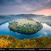Europe - Czech Republic - Czechia - Meandr Vltavy u Solenic - Solenická podkova - Solenice Horseshoe - One of most beautiful riverbends/meander of Vltava river - River canyon with deep water & green forest