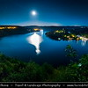 Europe - Czech Republic - Czechia - Bohemia - Čechy - Slapy Water Reservoir - Part of Vltava Cascade water management system - Night sky with stars & Setting Full Moon
