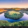 Europe - Czech Republic - Czechia - Česko - Central Bohemian Region - Střední Čechy - Meandr Vltavy u Solenic - Solenická podkova - Solenice Horseshoe - One of most beautiful riverbends/meander of Vltava/Moldau river - River canyon with deep water & green forest