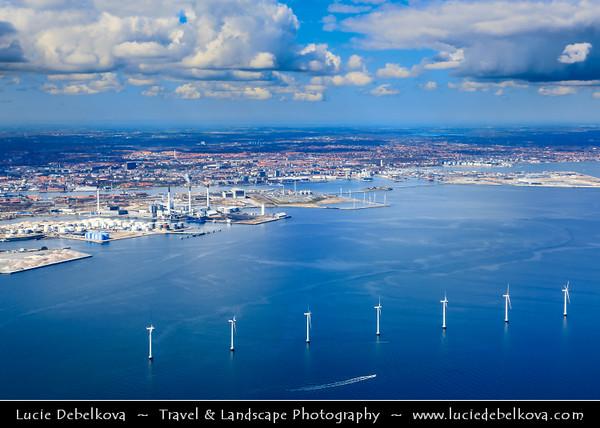 Europe - Denmark - Danmark - Copenhagen - Kopenhagen - København - Køpmannæhafn - Köpenhamn - Capital City - Offshore wind mill farm in Baltic Sea off Copenhagen from above